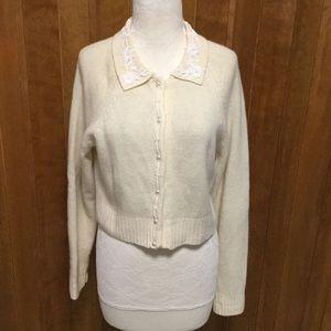 Vintage Airport Cream Beaded Crop Cardigan Sweater